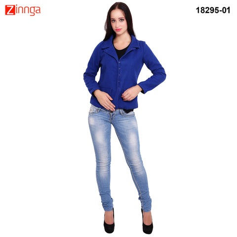 FBBIC-Women's Beautiful Winterwear Blue Color wool flap pocket coat - FBBIC 18295- 1