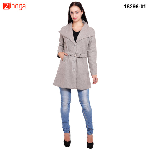FBBIC-Women's Beautiful Winterwear Grey Color wool long coat  - FBBIC 18296- 1