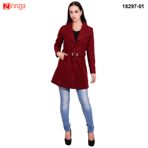 FBBIC-Women's Beautiful Winterwear Maroon Color wool long coat  - FBBIC 18297- 1