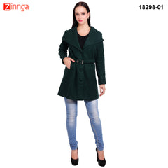 FBBIC-Women's Beautiful Winterwear Armald Green Color wool long coat - FBBIC 18298- 1