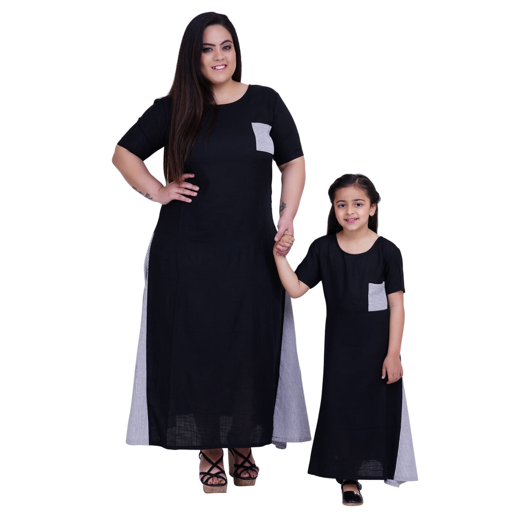 Buy Black Color Rayon Mom and Daughter's Skirt with Top Combo