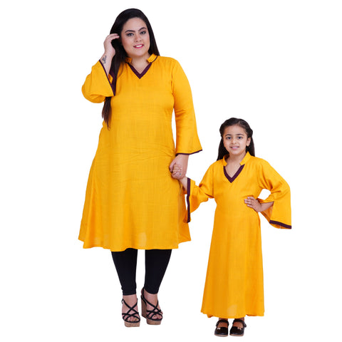 Yellow Color Rayon Mom and Daughter's Skirt with Top Combo - FBC__09