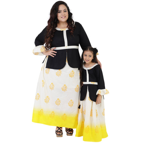 Black Color Rayon Mom and Daughter's Skirt with Top Combo - FBC__11