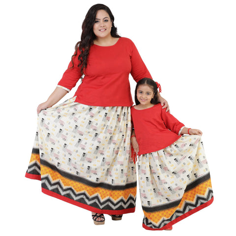 Red Color Rayon Mom and Daughter's Skirt with Top Combo - FBC__12