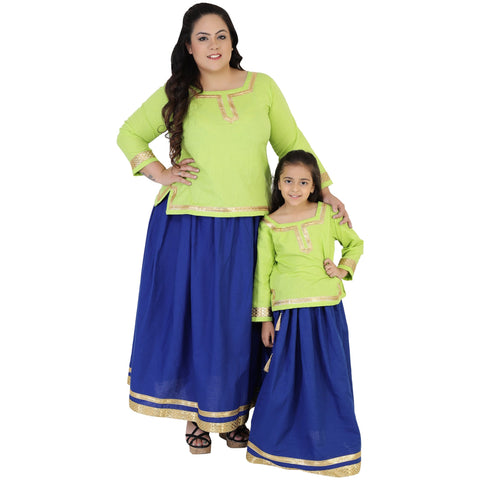 Green Color Rayon Mom and Daughter's Skirt with Top Combo - FBC__15