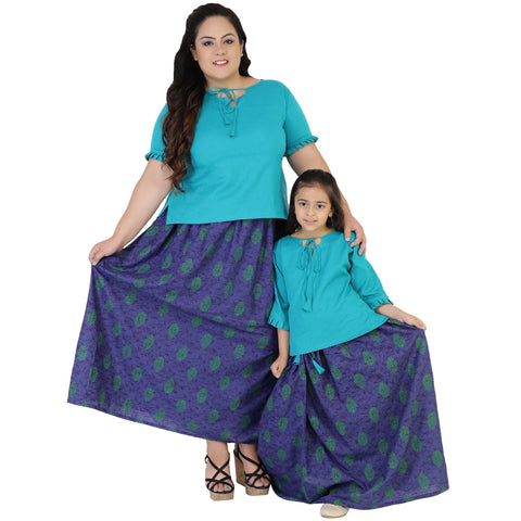 Firozi Color Rayon Mom and Daughter's Skirt with Top Combo - FBC__16