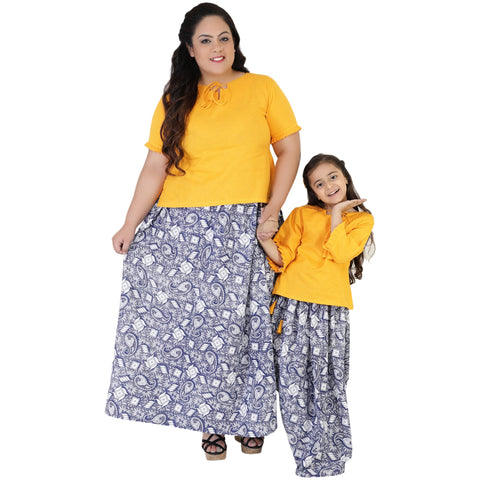 Yellow Color Rayon Mom and Daughter's Skirt with Top Combo - FBC__17