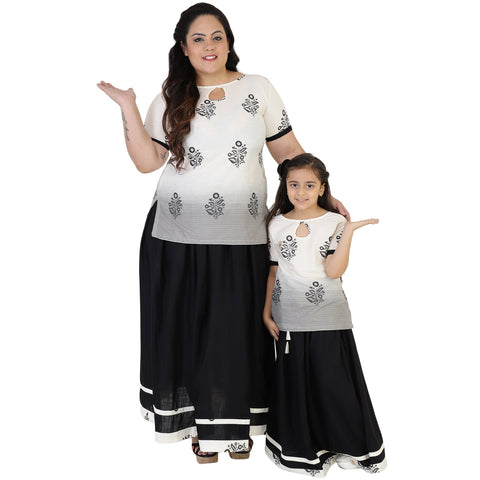 White Color Cotton Mom and Daughter's Skirt with Top Combo - FBC__18