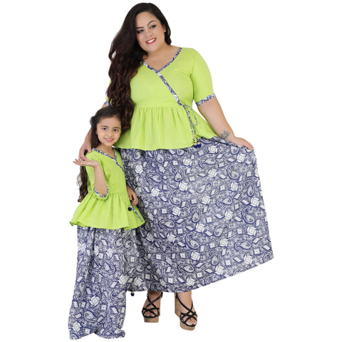 Green Color Rayon Mom and Daughter's Skirt with Top Combo - FBC__20
