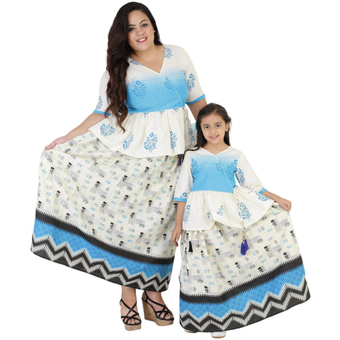White Color Cotton Mom and Daughter's Skirt with Top Combo - FBC__21
