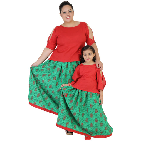 Red Color Rayon Mom and Daughter's Skirt with Top Combo - FBC__22
