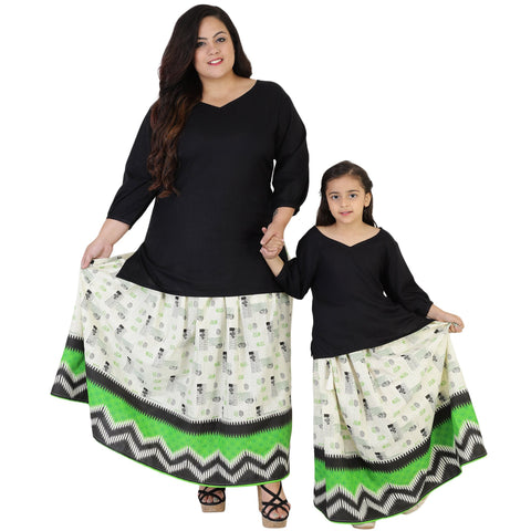 Black Color Rayon Mom and Daughter's Skirt with Top Combo - FBC__23