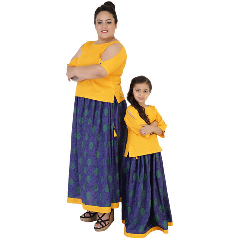 Yellow Color Rayon Mom and Daughter's Skirt with Top Combo - FBC__24