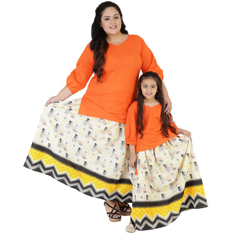 Orange Color Rayon Mom and Daughter's Skirt with Top Combo - FBC__25