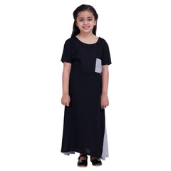 Black Color Rayon Mom and Daughter's Skirt with Top Combo - FBC__03