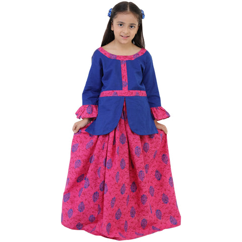 Blue Color Rayon Girl's Skirt With Top - FBK__75