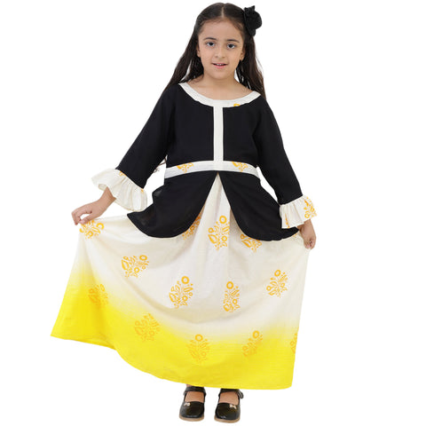 Black Color Rayon Girl's Skirt With Top - FBK__76