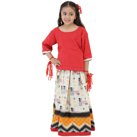 Red Color Rayon Girl's Skirt With Top - FBK__77