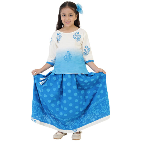 Cream Color Cotton Girl's Skirt With Top - FBK__78