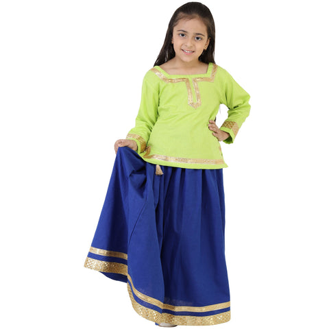 Green Color Rayon Girl's Skirt With Top - FBK__80