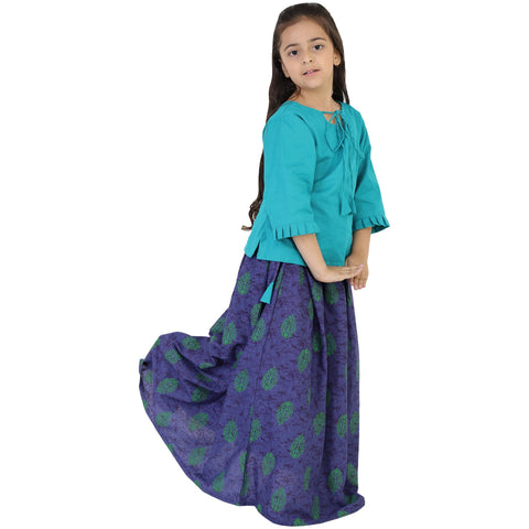 Firozi Color Rayon Girl's Skirt With Top - FBK__81