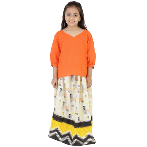 Orange Color Rayon Girl's Skirt With Top - FBK__82