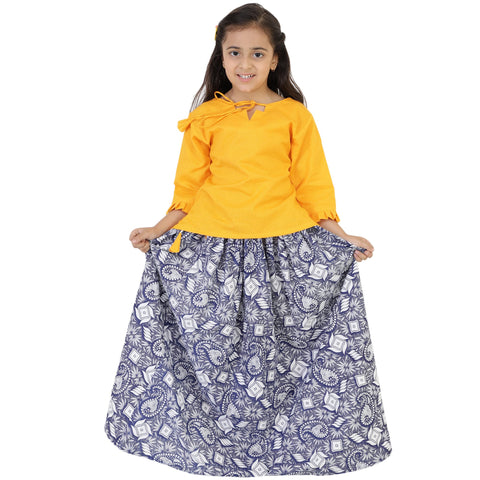 Yellow Color Rayon Girl's Skirt With Top - FBK__83