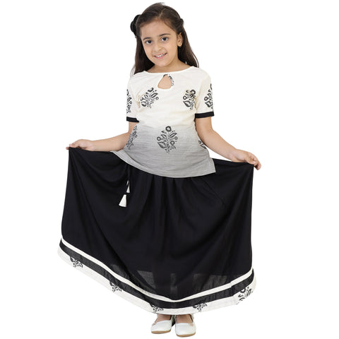 White Color Cotton Girl's Skirt With Top - FBK__84