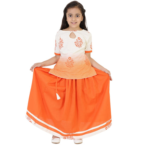 White Color Cotton Girl's Skirt With Top - FBK__85