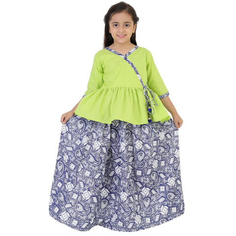 Green Color Rayon Girl's Skirt With Top - FBK__86