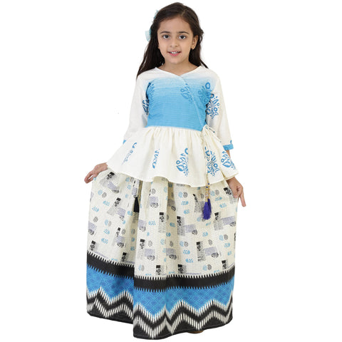 White Color Cotton Girl's Skirt With Top - FBK__87