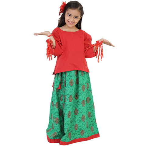 Red Color Rayon Girl's Skirt With Top - FBK__88