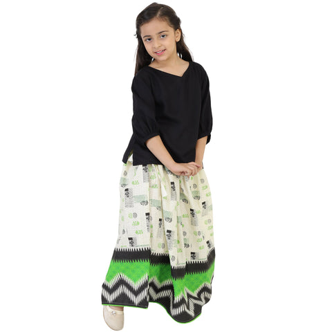 Black Color Rayon Girl's Skirt With Top - FBK__89