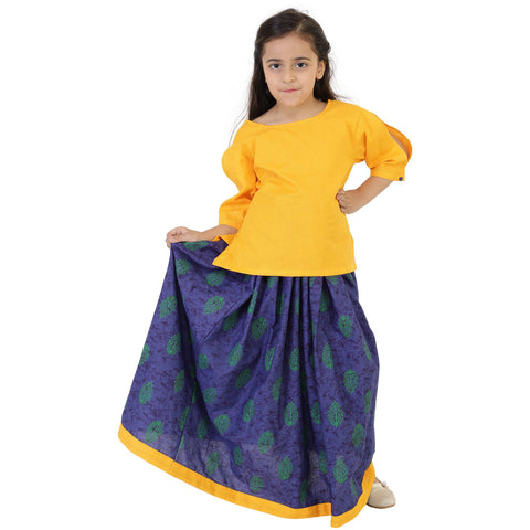 Yellow Color Rayon Girl's Skirt With Top - FBK__90