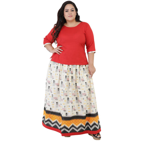 Red Color Rayon Women's Skirt with Top - FBWC__03