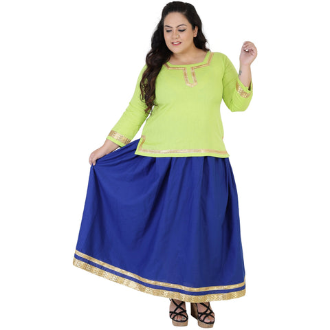 Green Color Rayon Women's Skirt with Top - FBWC__06