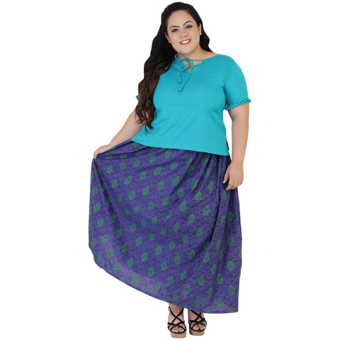 Firozi Color Rayon Women's Skirt with Top - FBWC__07