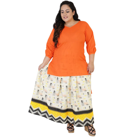 Orange Color Rayon Women's Skirt with Top - FBWC__08