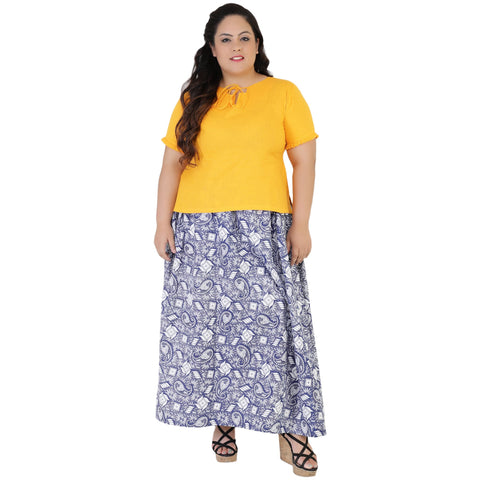 Yellow Color Rayon Women's Skirt with Top - FBWC__09