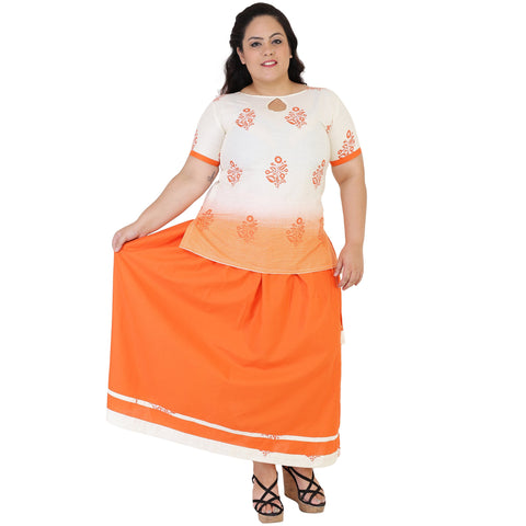 White Color Cotton Women's Skirt with Top - FBWC__11