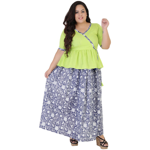 Green Color Rayon Women's Skirt with Top - FBWC__12