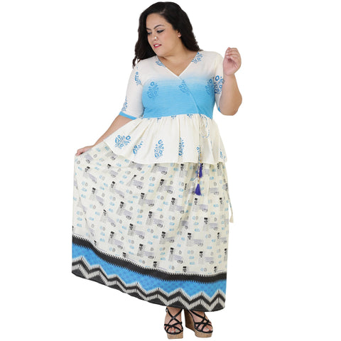 White Color Cotton Women's Skirt with Top - FBWC__13
