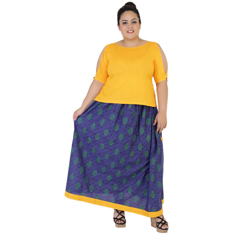 Yellow Color Rayon Women's Skirt with Top - FBWC__16