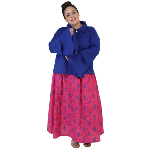 Blue Color Rayon Women's Skirt with Top - FBWC__19