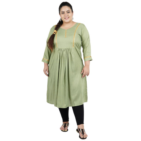 Light Green Color Rayon Women's Stitched Kurti - FBW_101