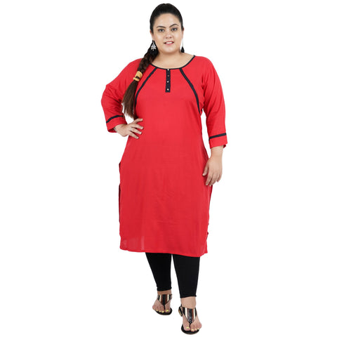 Red Color Rayon Women's Stitched Kurti - FBW_102