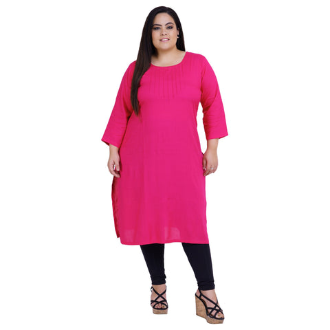 Pink Color Rayon Women's Stitched Kurti - FBW_20