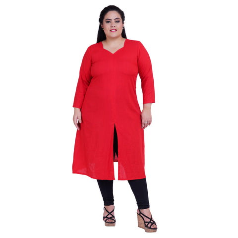 Red Color Rayon Women's Stitched Kurti - FBW_21