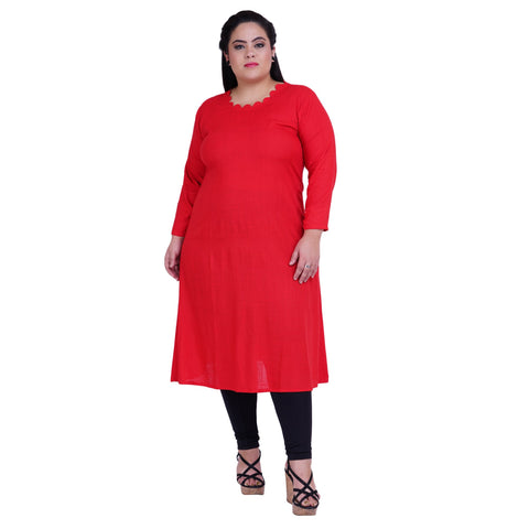 Red Color Rayon Women's Stitched Kurti - FBW_22