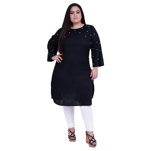 Black Color Rayon Women's Stitched Kurti - FBW_26